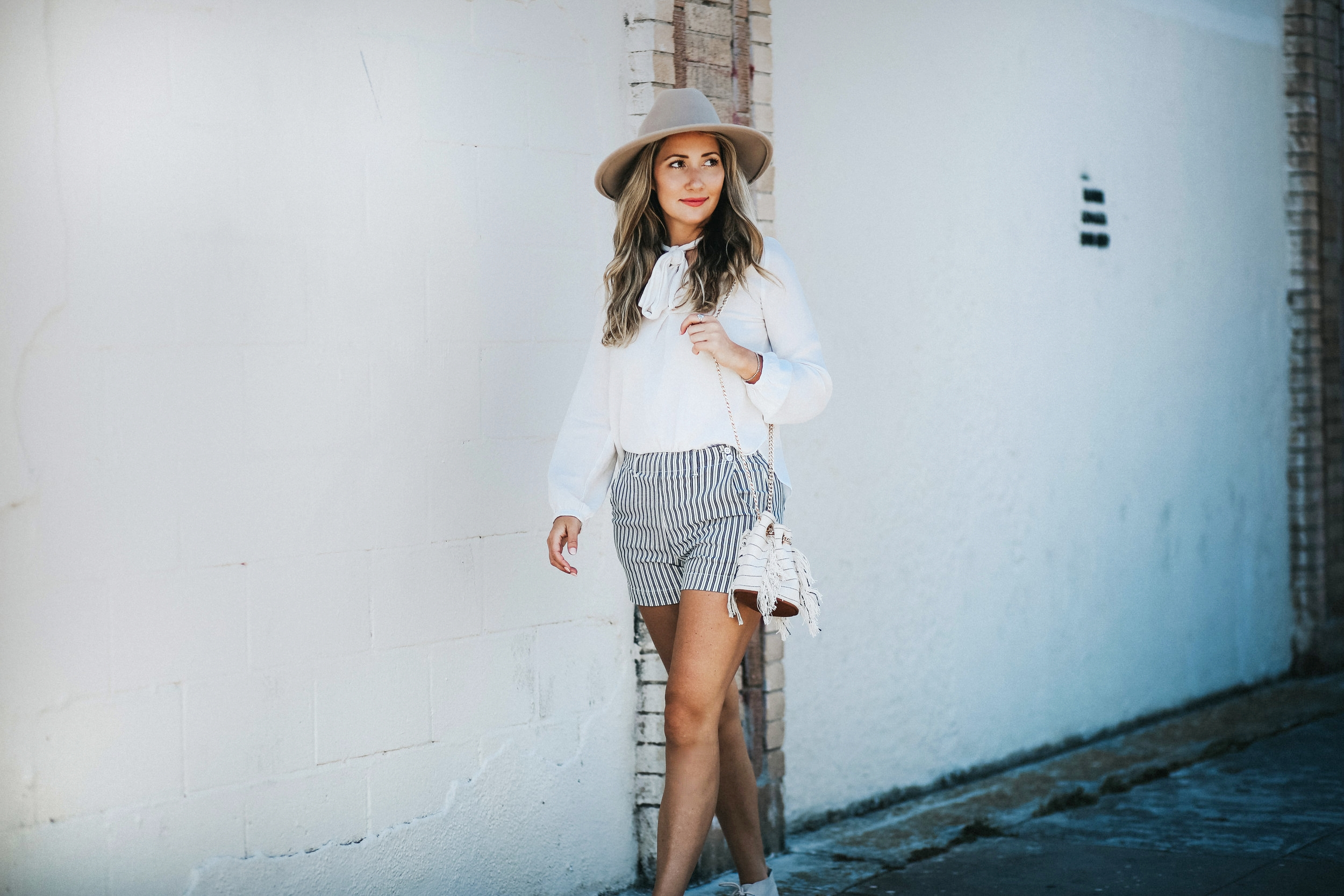 The Style Sauce street style blue and white striped shorts and pussy bow blouse