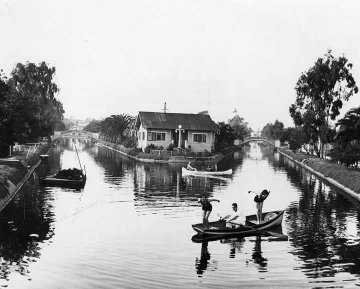 "Part of the Venice Canals that are now destroyed. Pictured in the middle is ""Little America Island"" an island where houses existed in the middle of the canals. Photo courtesy of the LMU library."