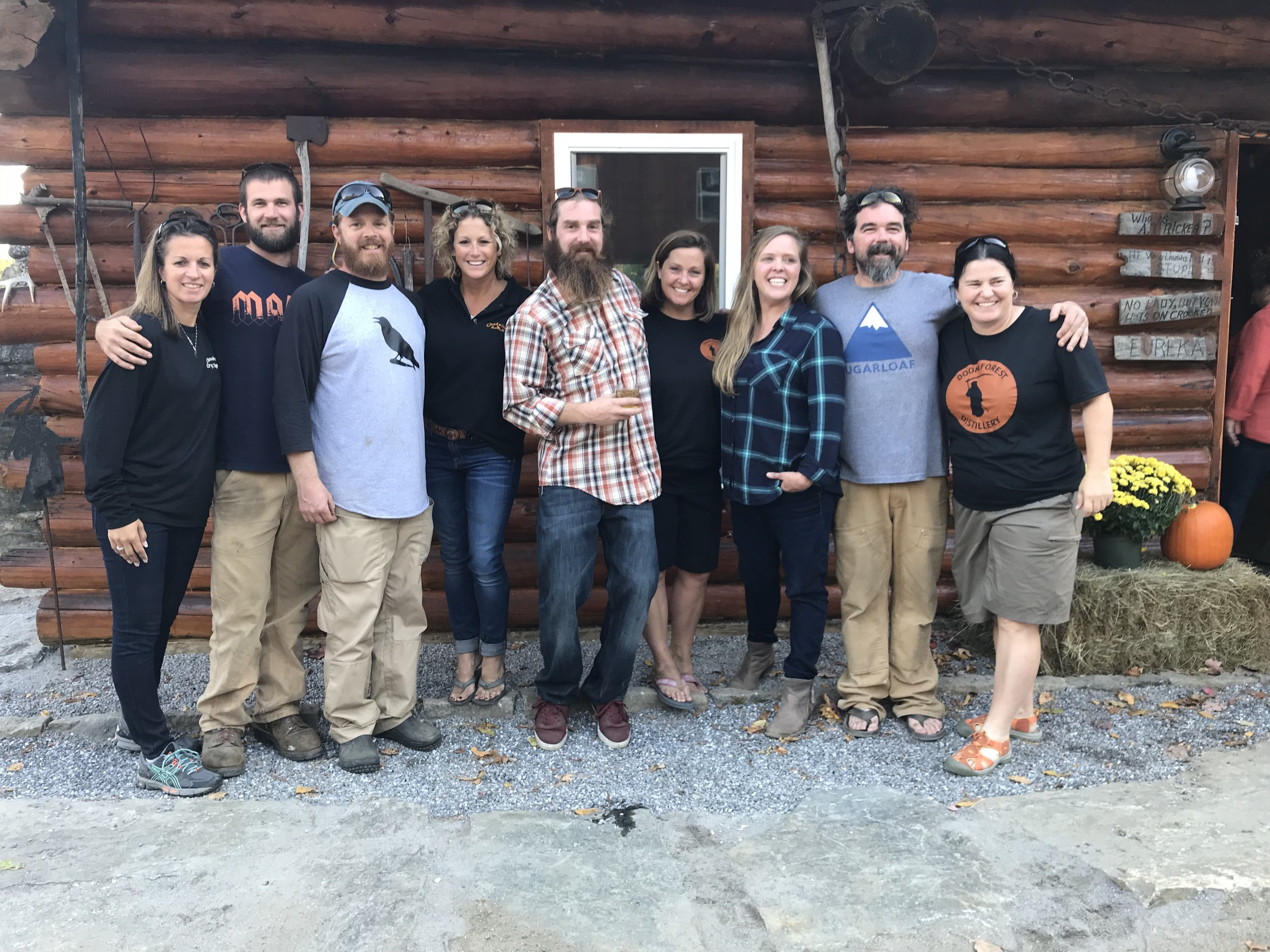 MAINE CABIN MASTERS AND THE DOOM FOREST DISTILLERY CREW (THE NEW SEASON OF THE MAINE CABIN MASTERS WILL BEGIN NOVEMBER 2017 ON THE DIY NETWORK)