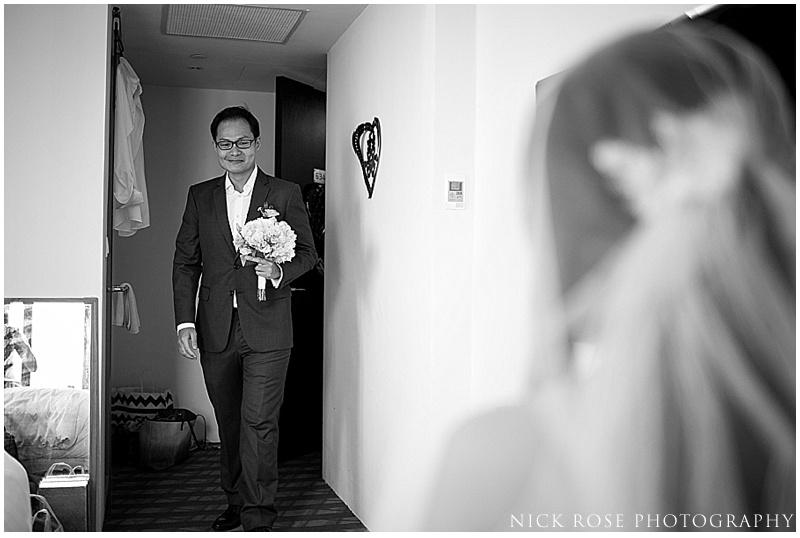 Groom treating bride