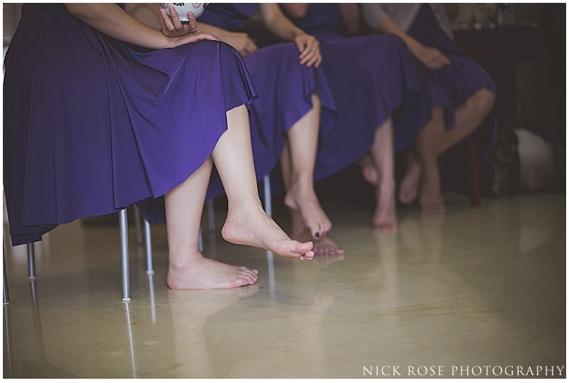 Bridesmaids at wedding tea ceremony