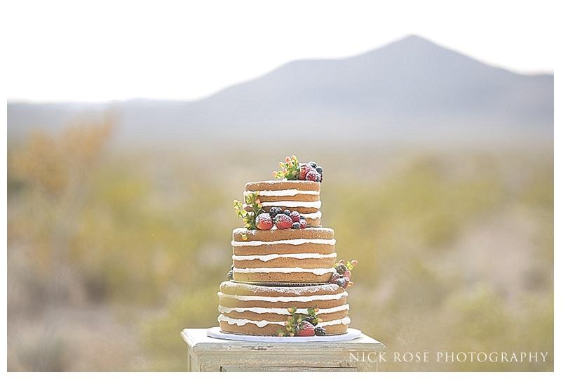 Outdoor wedding cake in the desert