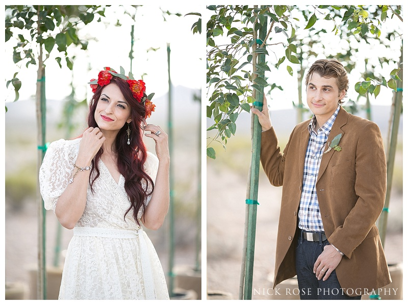 Bride and groom styling in the desert
