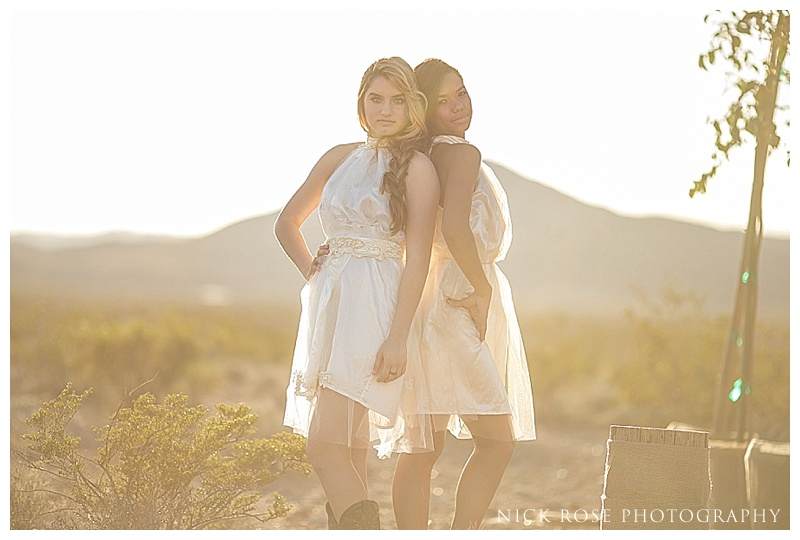 Bridesmaids hanging out in the desert