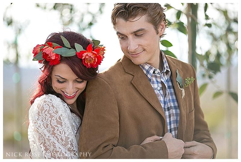 Bride and groom outdoor desert wedding