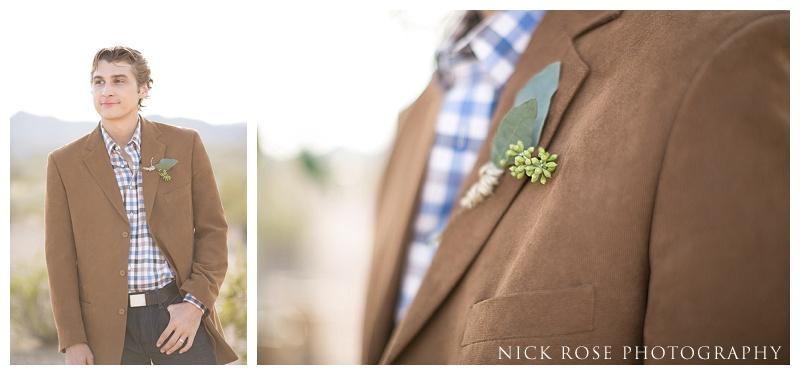 Groom wedding details checked shirt