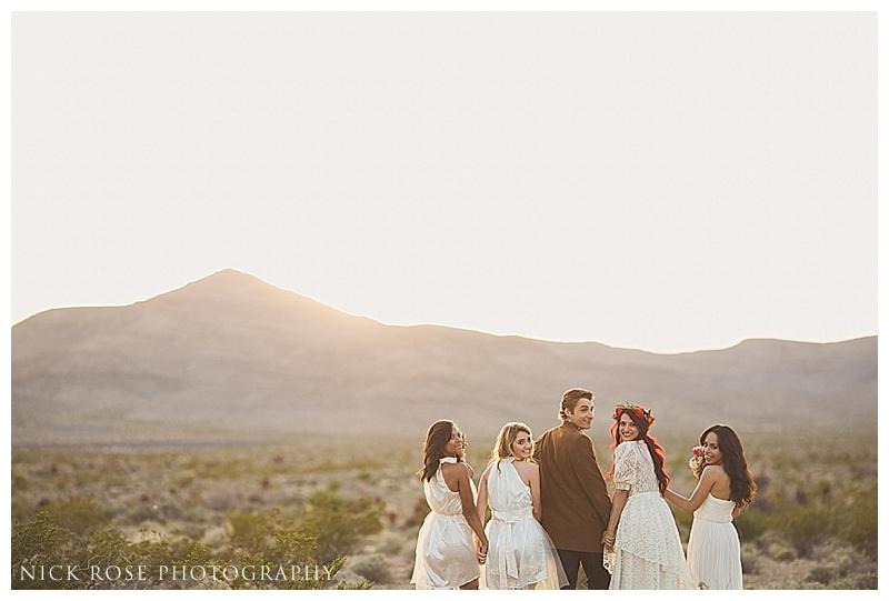 Wedding party sunset photographs