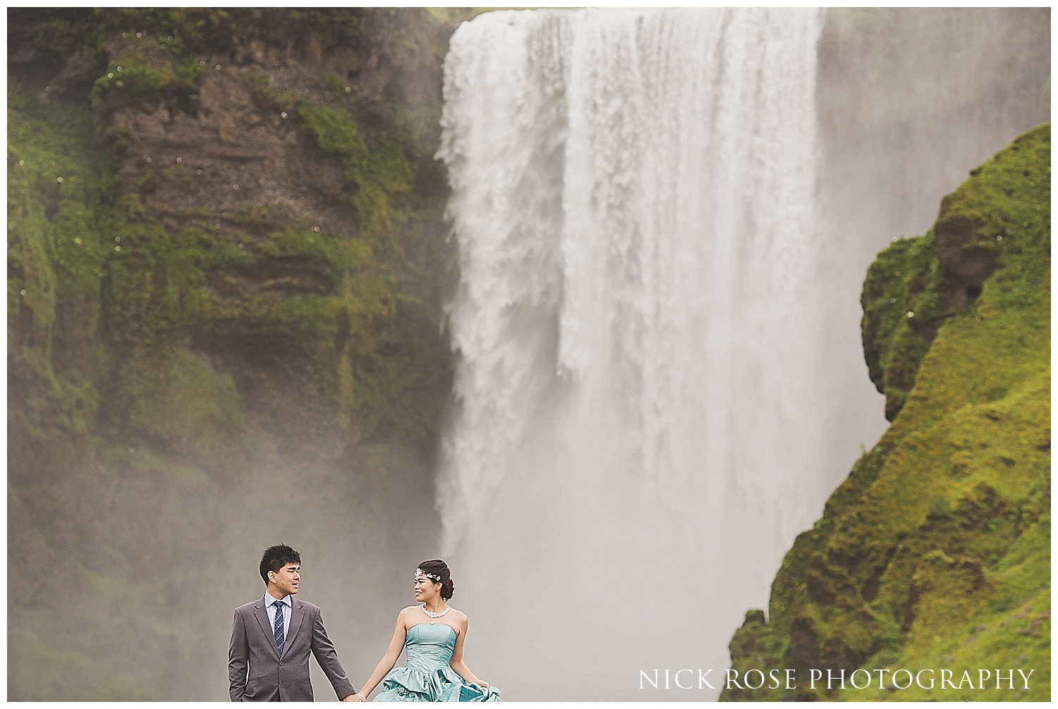 Destination pre wedding waterfall photographs