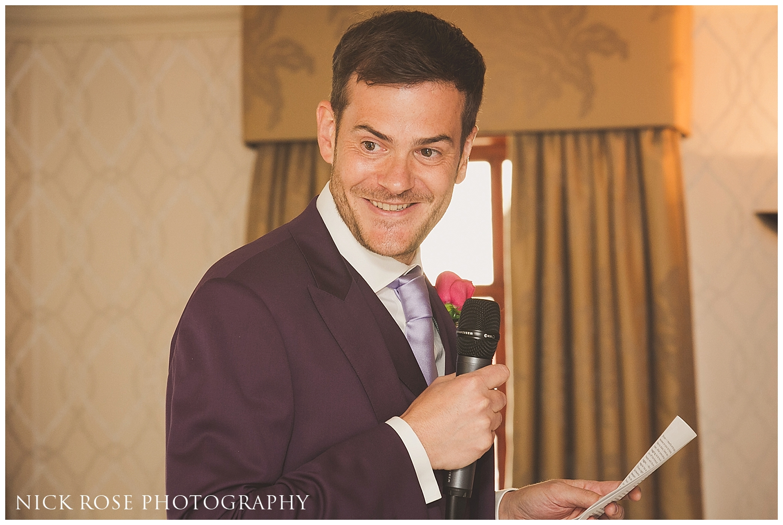 Wedding reception at Pennyhill Park Surrey