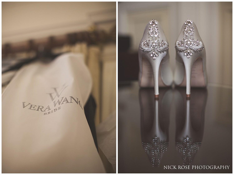 Vera Wang wedding dress and diamond encrusted shoes for a Danesfield House wedding in Buckinghamshire