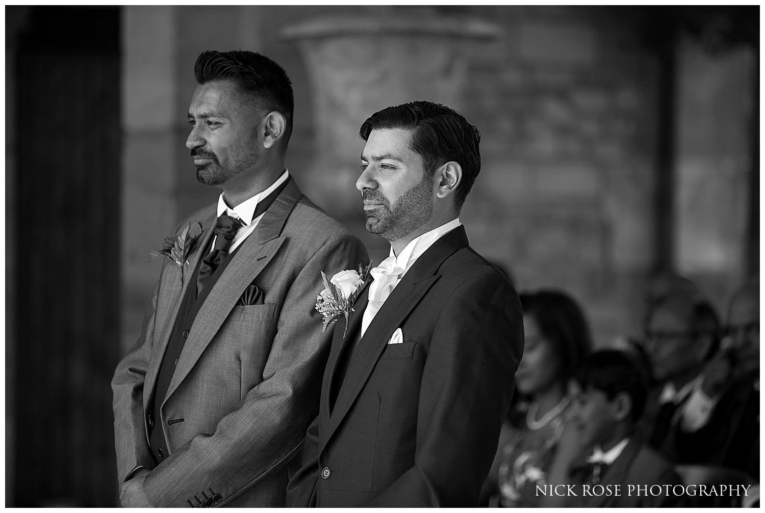 Groom waiting for his bride at a Hever Castle Kent wedding
