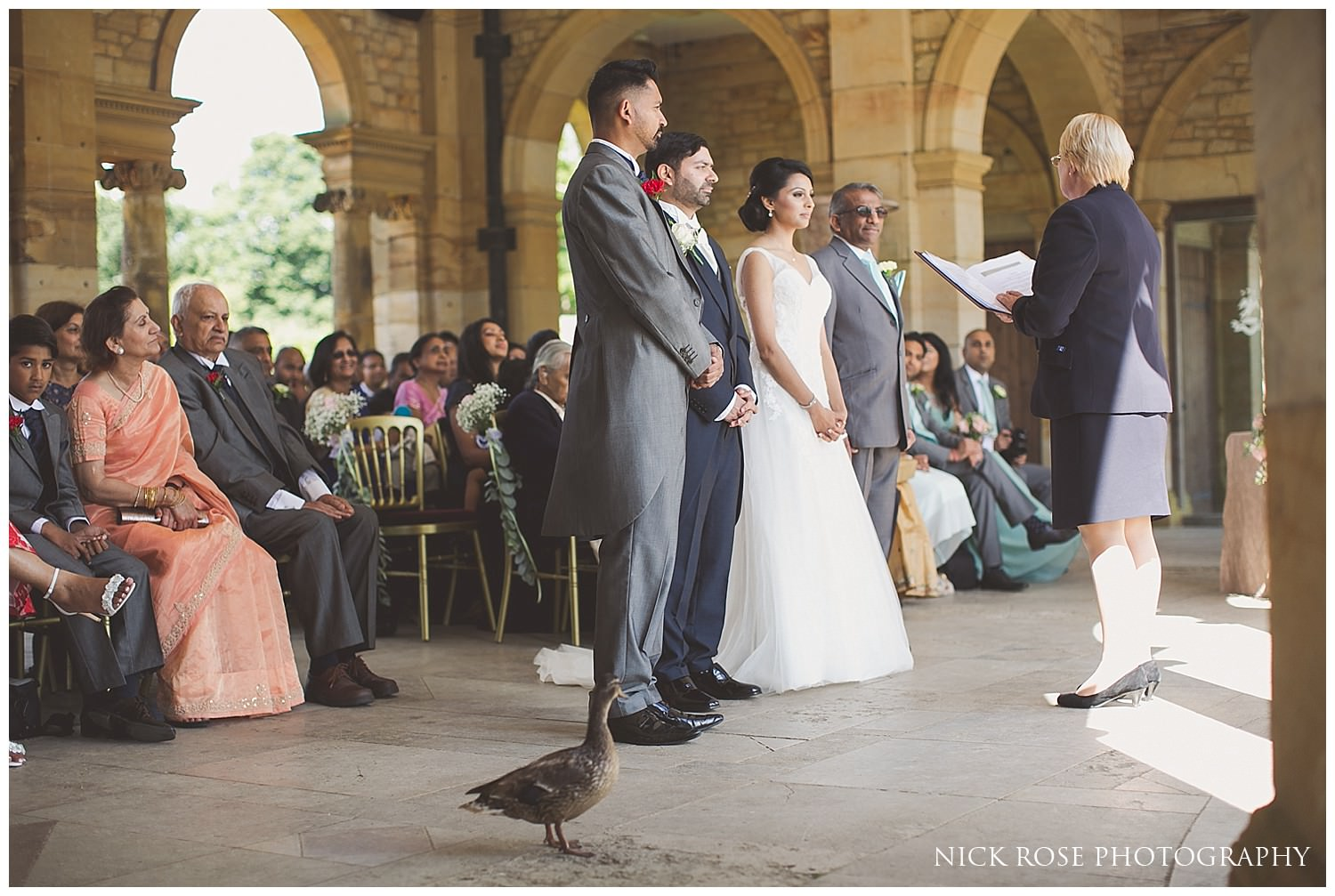 Duck watching the wedding ceremony at Hever Castle