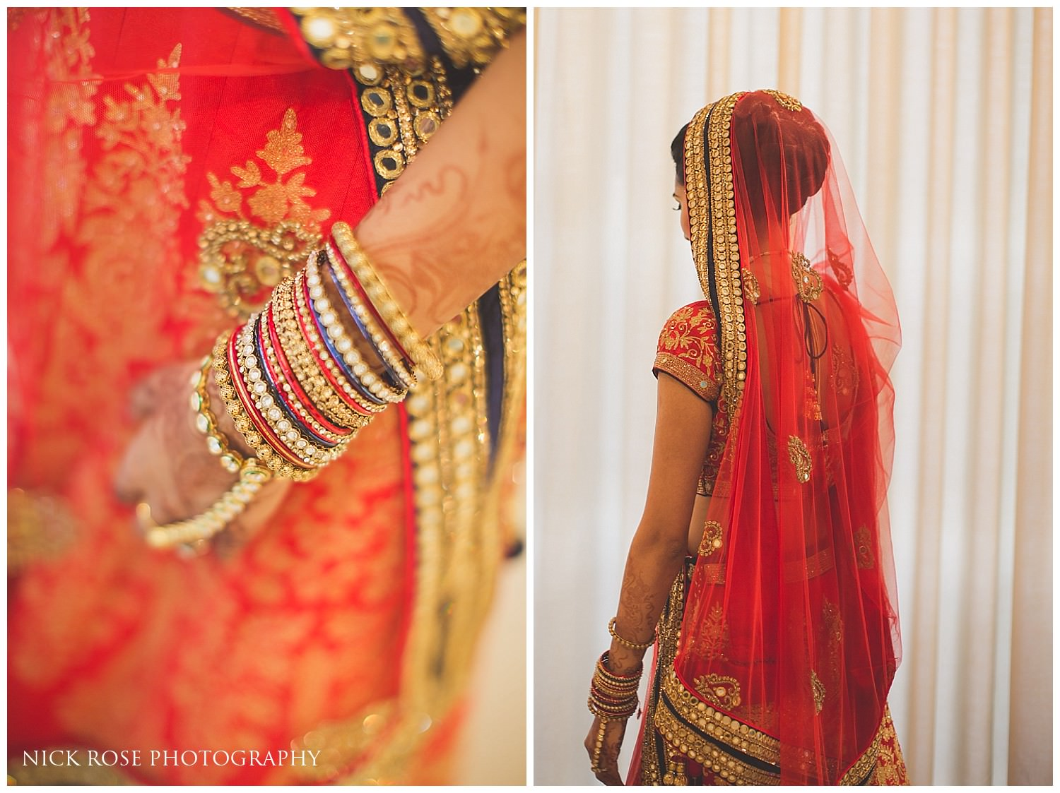 Hindu bride looking out of the window at East Wintergarden in Canary Wharf London