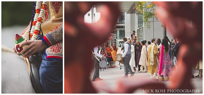 Canary Wharf Hindu wedding baraat entrance in London