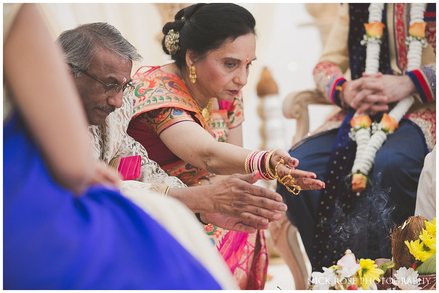 Brides mother during an East Wintergarden Hindu wedding in Canary Wharf London