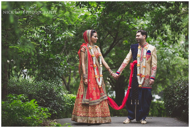 East Wintergarden wedding photography portrait of a Hindu bride and groom