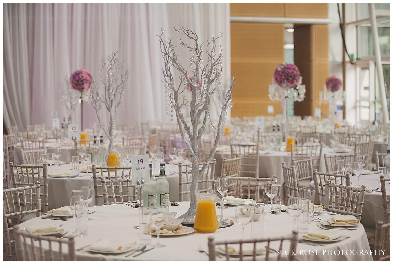 Table arrangement for an East Wintergarden Indian wedding in London