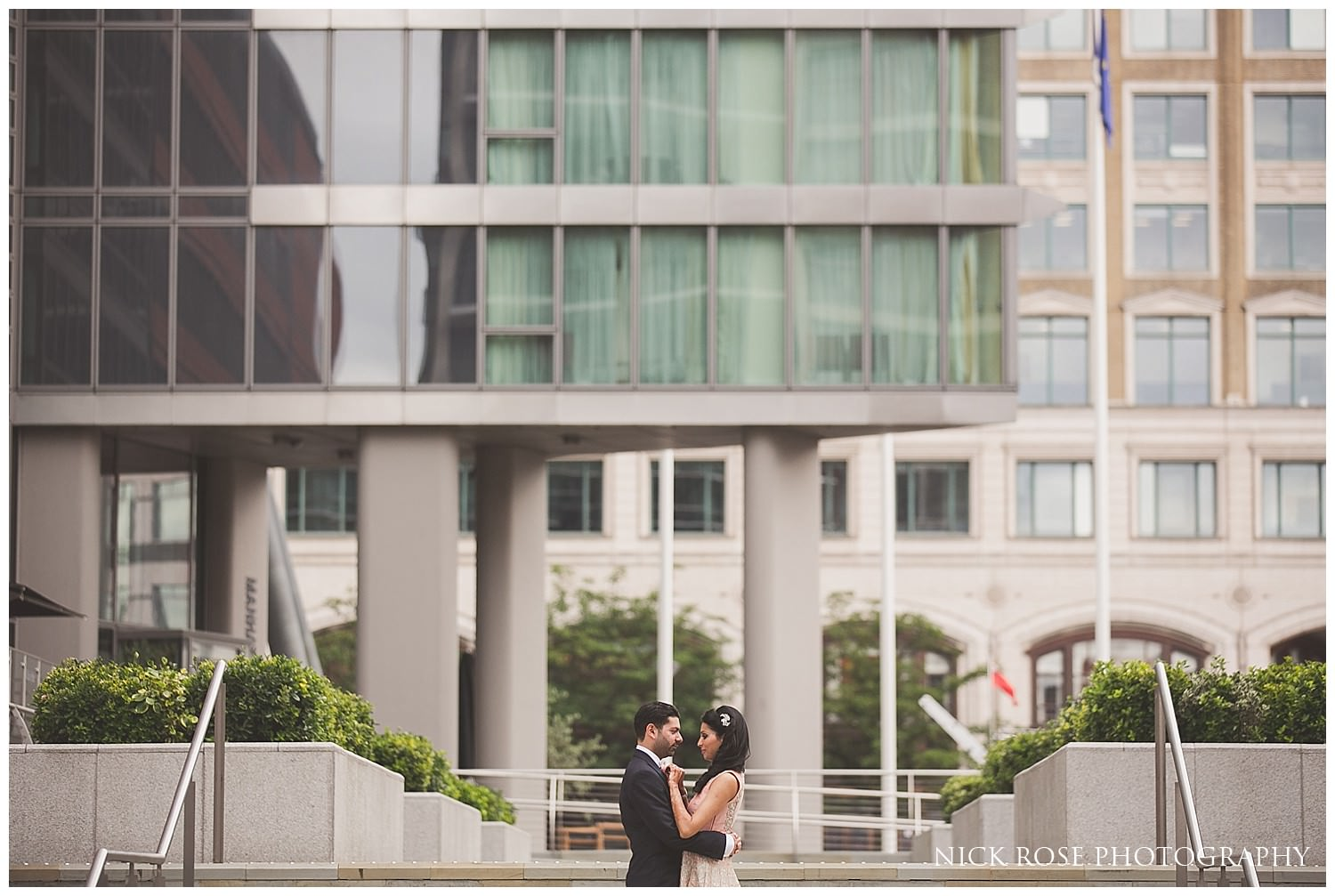 Bride and Groom Indian wedding photography portrait at Canary Wharf