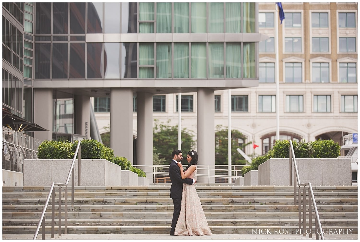 Indian wedding couple photograph on steps in London