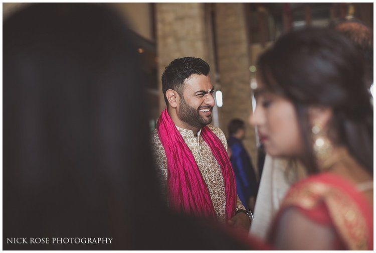 Groom laughing before his Hindu Baraat in Dubai