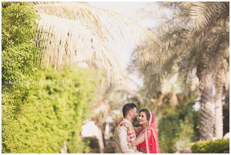 Asian wedding portrait for a destination Indian wedding at the Sofitel Palm Dubai