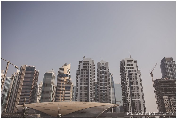 The Dubai skyline during a destination wedding