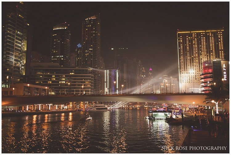 Night skyline at the Dubai marina during a destination Hindu wedding reception