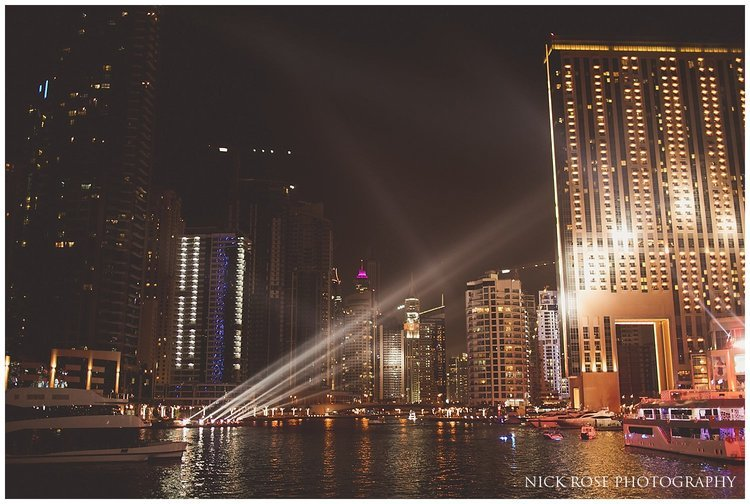 Dubai marina at night during an Indian destination wedding reception