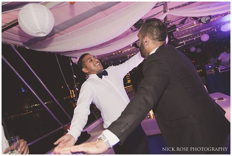 Wedding reception dancing on a private yacht in Dubai