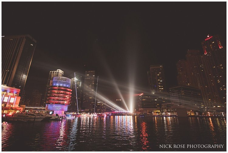 The Dubai Marina Yacht Club at night after a destination Indian wedding