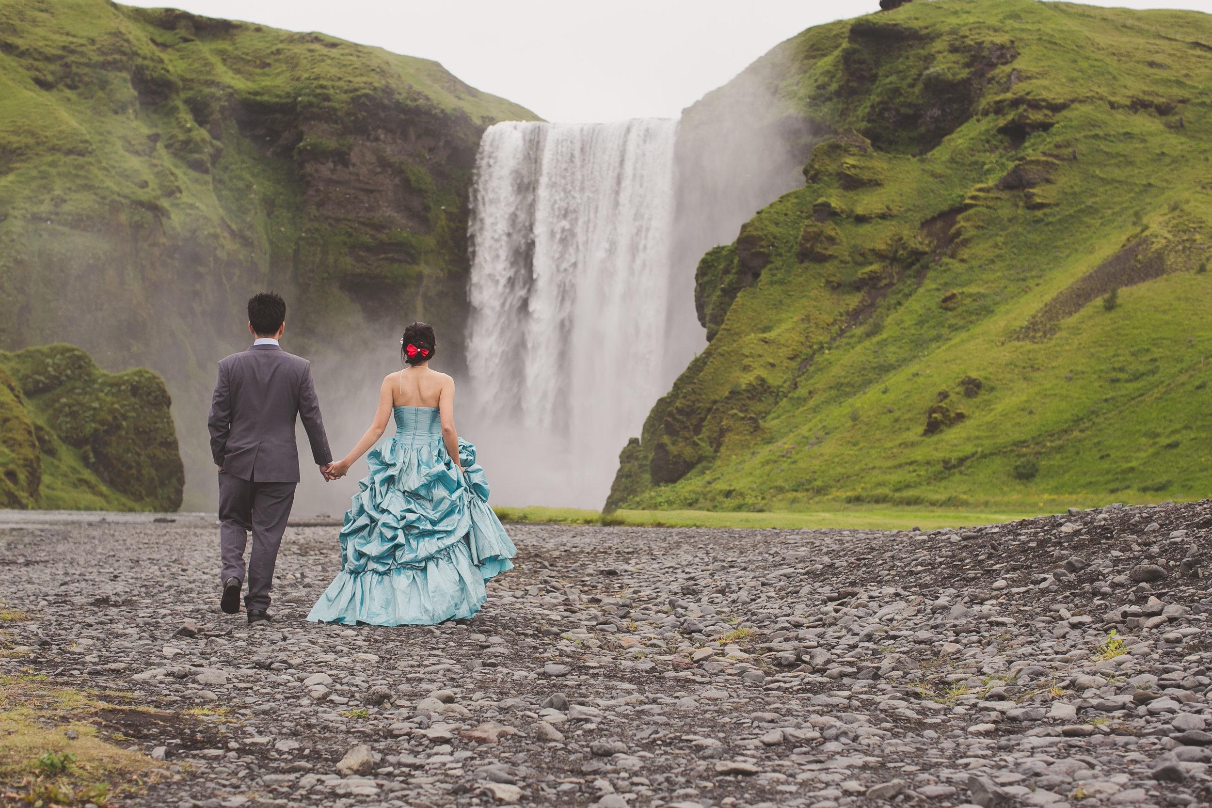 Iceland waterfall destination pre wedding photography