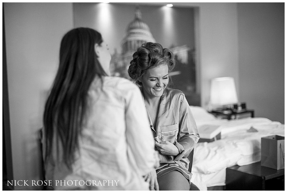 Bride getting ready at Threadneedles Hotel in London