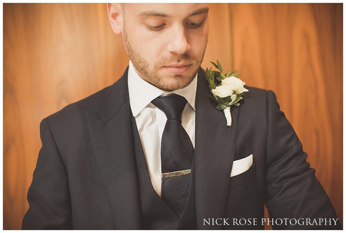 Groom wedding prep at Threadneedles Hotel in London