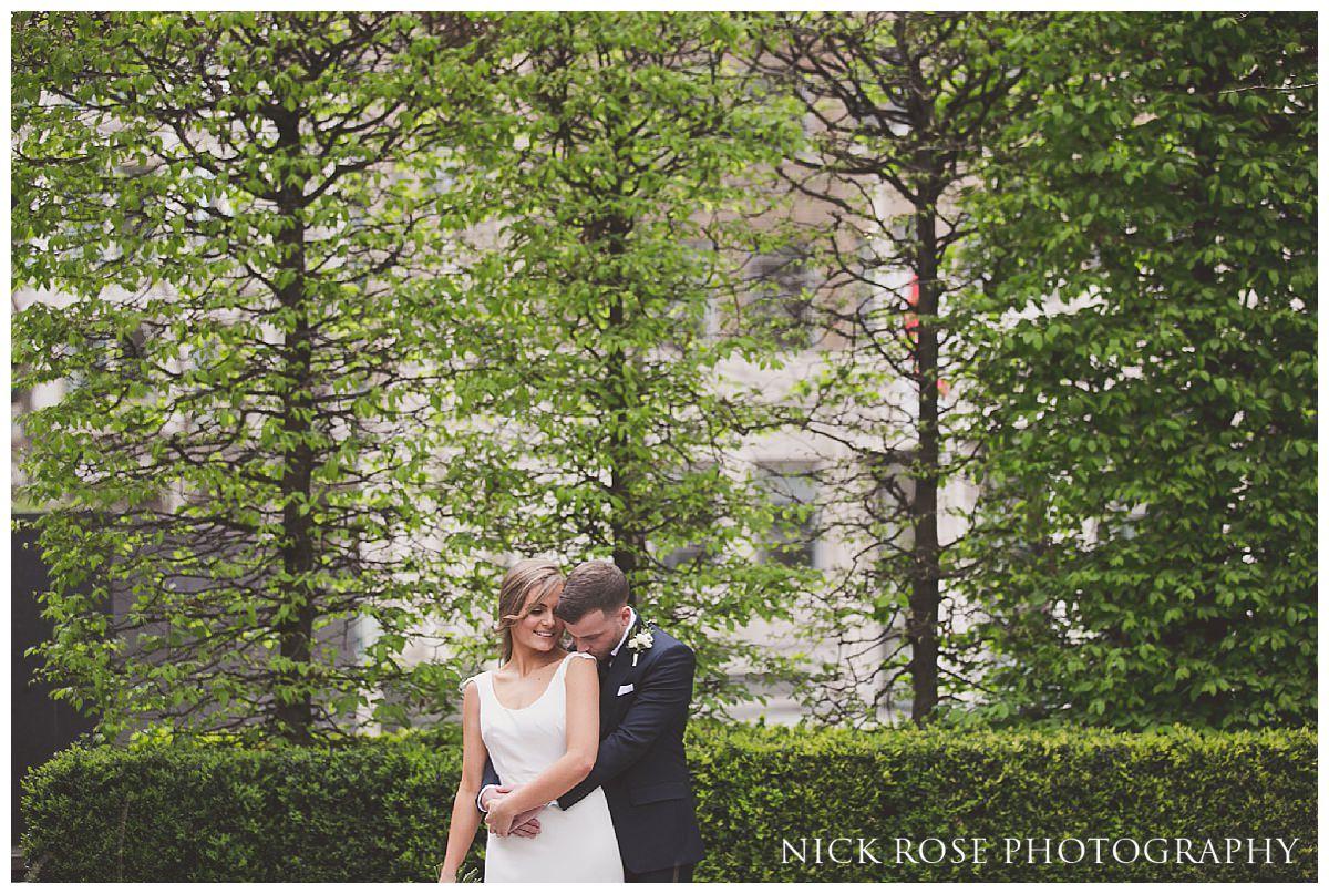 Wedding portrait after a Hawksmoor Guildhall wedding in London