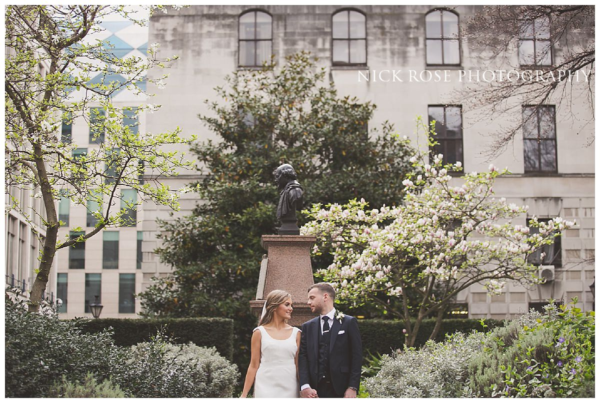 Wedding photograph of the couple during a Guildhall wedding at London's Hawksmoor