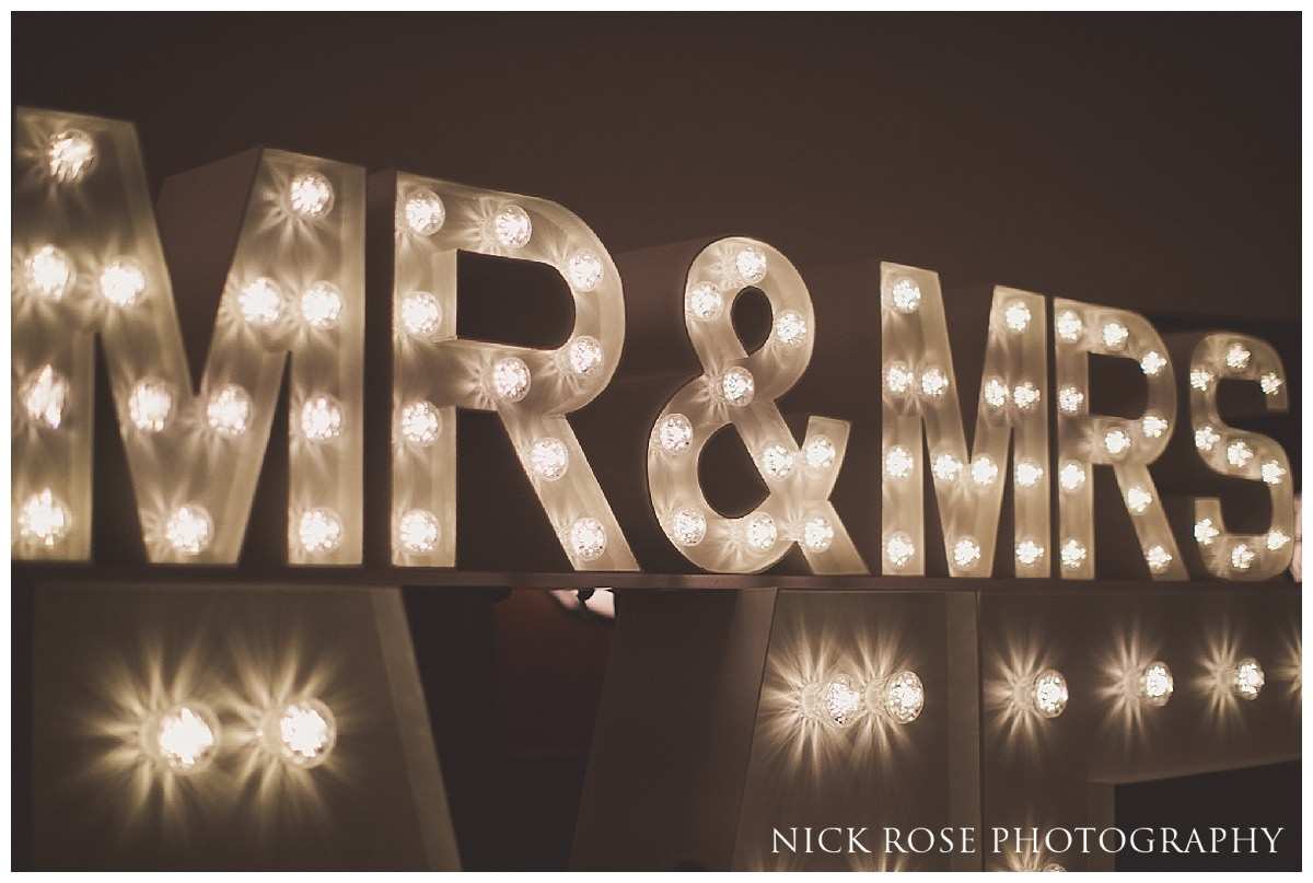 Mr and Mrs vintage lightbulb sign for a wedding at Hawksmoor London
