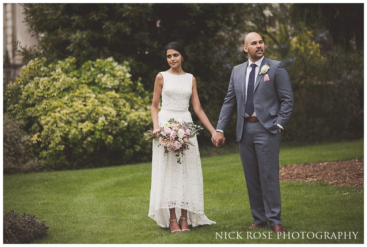 Bride and groom wedding portrait at Moor Park golf club mansion Rickmansworth