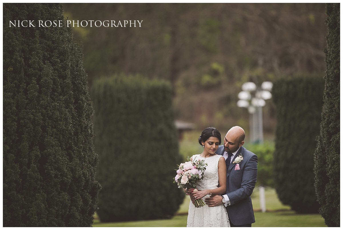 Bride and groom wedding photography portrait at Moor Park golf club mansion Rickmansworth