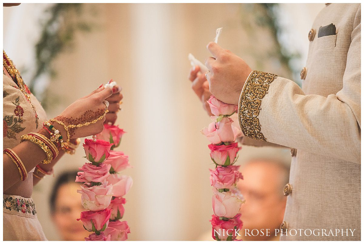 Exchange of garlands during a Hindu wedding service at The Grove