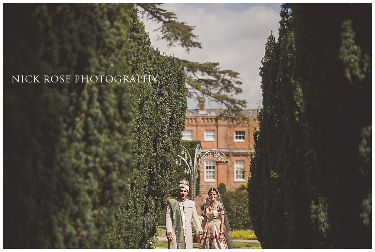 Hindu wedding bride and groom portrait photography at The Grove in Hertfordshire