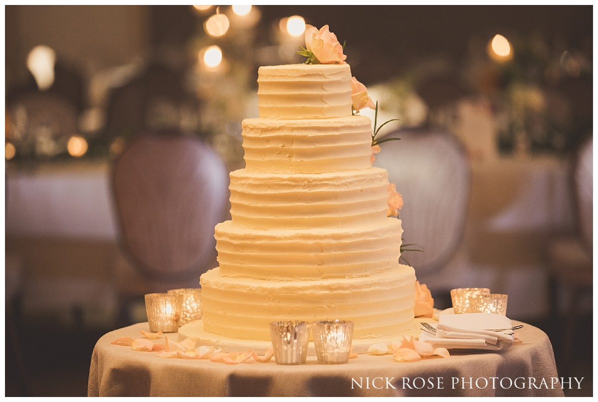 Hindu reception wedding cake at The Grove in Watford, Hertfordshire