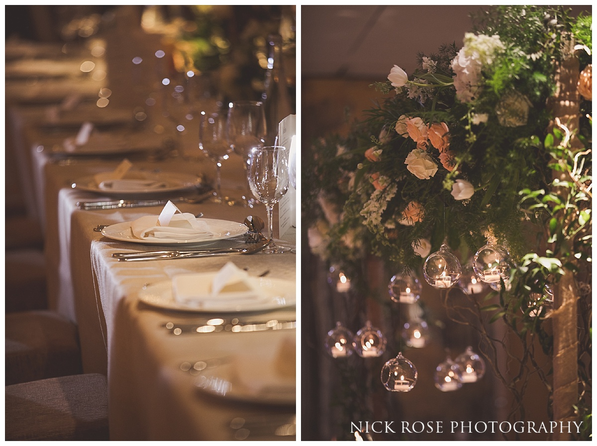 Wedding reception table layout and flowers at The Grove in Watford, Hertfordshire
