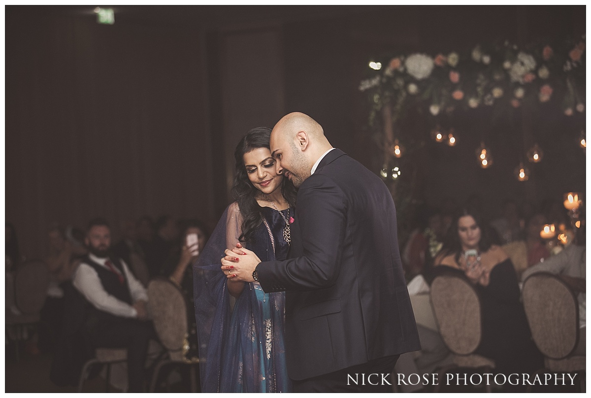 Bride and groom first dance in the Amber Suite ballroom at The Grove in Hertfordshire