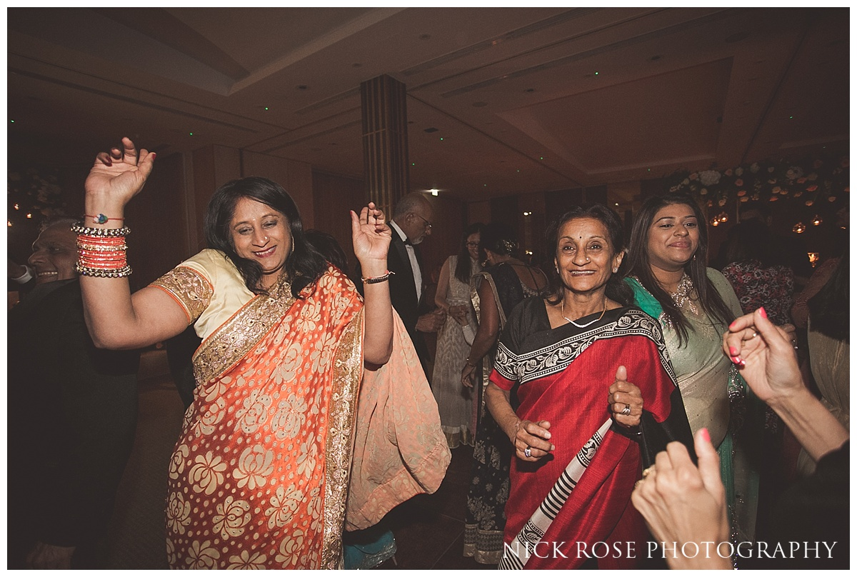 Hindu wedding reception party and dancing at The Grove Hotel in Watford