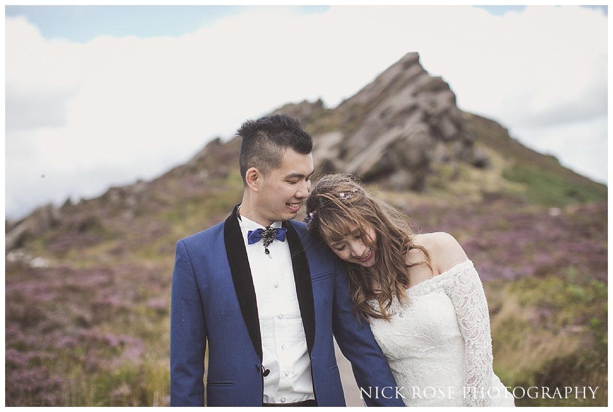 Couple pre wedding portrait photography at Ramshaw Rocks in the Peak District
