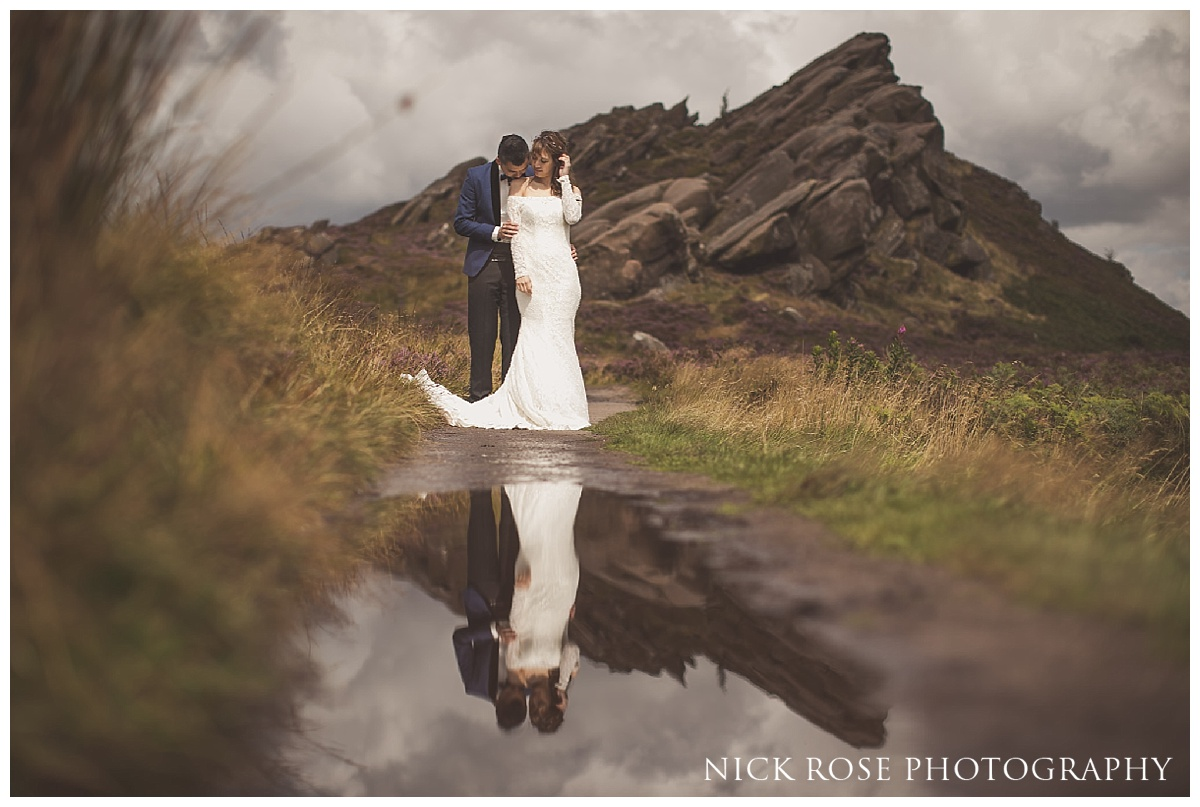 Pre wedding reflection photograph at Ramshaw Rocks in the Peak District, Derbyshire
