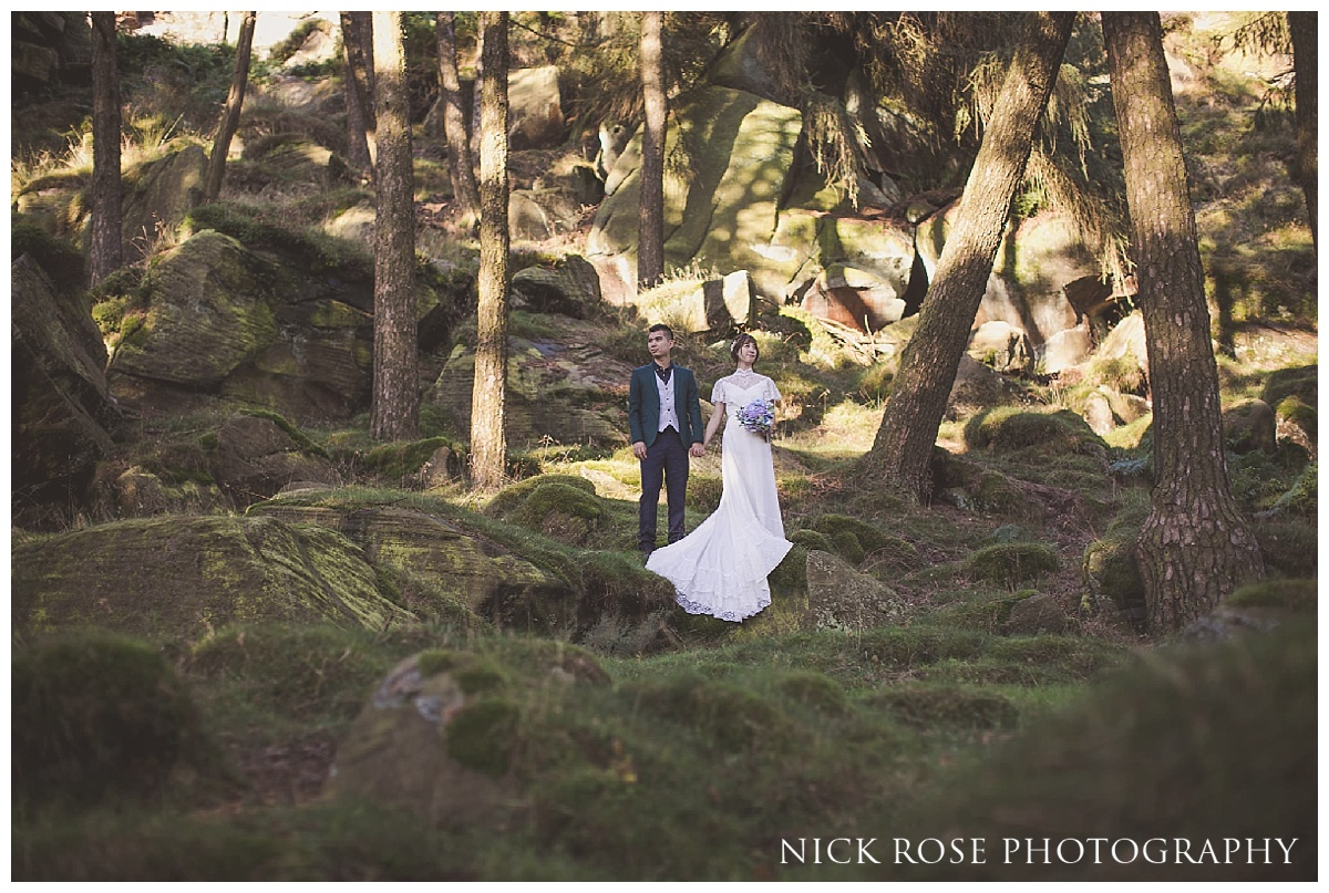 English countryside pre wedding photography shoot at the Roaches in the Peak District National Park.