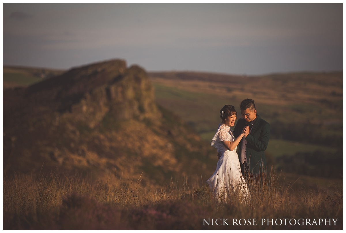 Sunset pre wedding photography in the Peak District