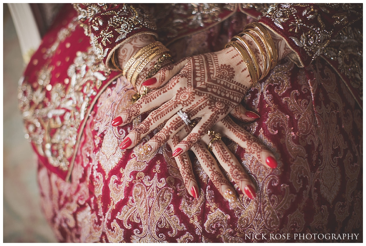 Bride getting ready for a Pakistani Wedding at the Ritz Hotel London