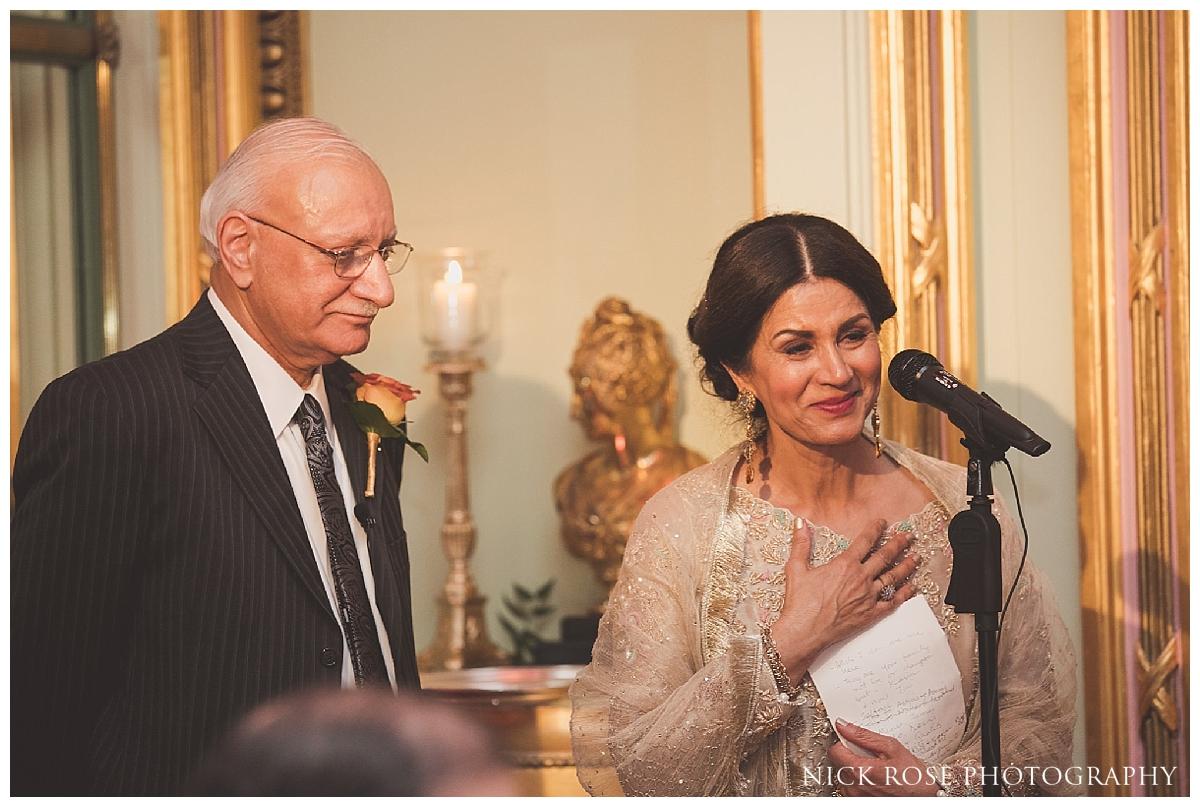 Mothers wedding speech for a Ritz Hotel Asian wedding in London